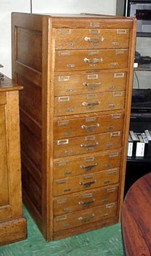 0161 10 Drawer Golden Oak File Cabinet for Index Cards with Brass Hardware & 0161 10 Drawer Golden Oak File Cabinet for Index Cards with Brass ...